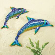 Blue Sea Dolphins Marine Tropical Metal Wall Art Hangings Beach House Home Decor