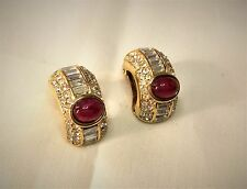 SPARKLY VINTAGE CHRISTIAN DIOR CLIP-ON HUGGIES, AUTHENTIC 1980's EARRINGS