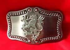 CHROME 3D RAMPANT LION SCOTTISH FININISH SCOTLAND FINLAND BELT BUCKLE