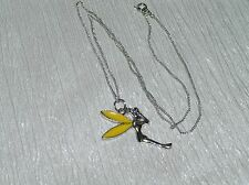 Estate Silvertone Chain with Tinkerbell Fairy w Yellow Enamel Wings Pendant Neck