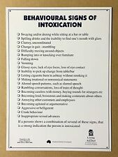 Behavioural Signs of Intoxication - Tin Metal Wall Sign