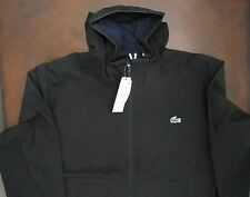 NWT Lacoste Mens Black Hooded Water Repellent LIghtweight Nylon Jacket 3X 58 NEW