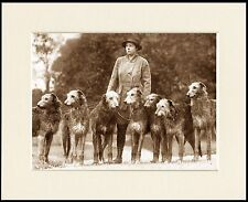 DEERHOUND LADY AND HER DOGS OLD STYLE DOG PHOTO PRINT MOUNTED READY TO FRAME