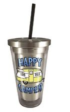 20524 Happy Camper Trailer RV Camping 16oz Stainless Steel Travel Cup w/Straw