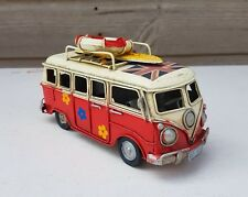 VW Style Camper Van Rustic Shabby Tin Metal Model Ornament 16cm  Red