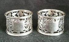 Victorian percé sterling silver napkin rings. chester 1898. par n & g hayes
