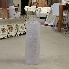 Windlichtsäule rund Zement Wording Glas grau Impressionen