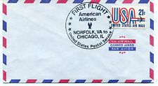 FFC First Flight American Airlines Norfolk VA to Chicago IL US Postal Service
