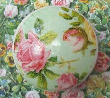 Pink Roses Knob Ceramic desk office pull chic shabby flowers drawer Turquoise