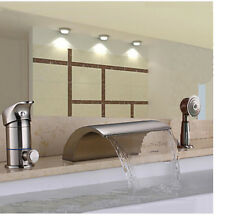 Waterfall Bathroom Tub Faucet Brushed Nickel Sink Mixer Tap W/ Hand Shower