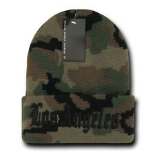 "Camo & Black Los Angeles LA Embroidery 12"" Long Cuffed Vintage Beanie Beanies"