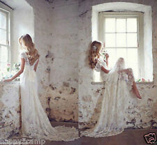 2017 Beach White/Ivory Lace Wedding Dresses Ball Gown Bridal Gown Size Custom