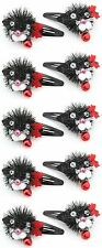 Zest 10 Fluffy Cat Hair Clips Slides with Jingly Bells Black & Red