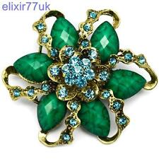7.1cm LARGE GOLD FLOWER VINTAGE GREEN BROOCH TURQUOISE RHINESTONE CRYSTALS