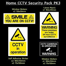 CCTV Home Security Safety Pack - Plastic Sign, Stickers & Window Sticker (PK3)