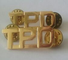 "TPD Letter Insignia Gold 1/2"" Uniform Shirt Collar Police Pins"