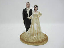 Vintage Wedding Cake Topper Oval Decorated Base Chalkware Scoop Neck Gown