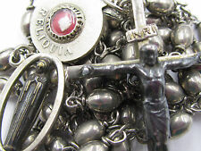 "† VINTAGE RELIC ""M. TRUSZKOWSKA"" SILVER METAL OVAL ROSARY 29"" NECKLACE ROSARIO †"
