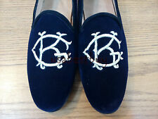 New Handmade Men Custom Initials Embroiered Blue Velvet Slippers, men shoes