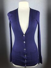 BANANA REPUBLIC TWILIGHT NAVY 85% SILK 15% CASHMERE RIB LONG CARDIGAN SWEATER S
