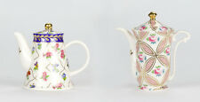 "Set of 2 Antique style Chintz Blue Pink Miniature mini Teapot porcelain 3"" 8cm"