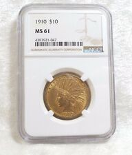 1910 GOLD Indian Head Eagle $10 Coin SLABBED NGC MS 61