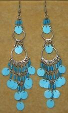 Blue Light TRIBAL Sequin Hippie Chandelier Belly Dance Dancing Gypsy Earrings