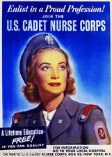 1942 Cadet Nurse WWII American Patriotic Wartime Advertisement Poster Art Print