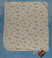 Little Me White Baby Receiving Blanket Duck Frog Snail Cotton Knit Single Ply