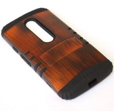 Motorola Moto G (3rd Gen) - HYBRID RUGGED ARMOR CASE COVER BROWN WOOD KICKSTAND