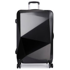 Hardshell Suitcase Trolley Diamond Luggage 4 Wheel Spinner PC And ABS Black 28''
