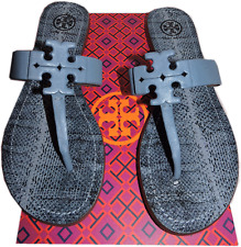 Tory Burch MOORE Thong Sandal Light Blue leather Shoe Flip Flop 7.5 Slide