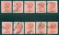 GREAT BRITAIN SG-X965, SCOTT # MH-122 MACHIN USED, 10 STAMPS, GREAT PRICE!