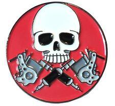 Skull With Tattoo Needle Guns Tattooist Artist Parlour Biker Metal Enamel Badge