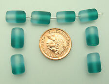 20 aqua two tone cylinder Indian glass beads size (mm) 12 for jewellery making