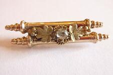 Sehr seltene wunderschöne Biedermeier Stabbrosche Silber vergoldet Zierstein