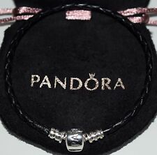 GENUINE PANDORA BLACK WOVEN LEATHER CHARM BRACELET S925 ALE 18CMS WITH POUCH