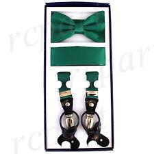 New in box Men's Vesuvio Napoli Suspenders Bowtie Hankie clip on Emerald Green