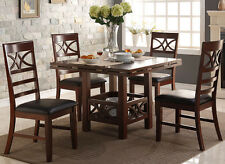 NEW 5PC ALISO II DARK BROWN CHERRY FINISH WOOD ROUND SQUARE DINING TABLE SET