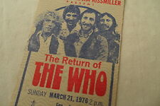 THE WHO 1976 Original Unused CONCERT TICKET from ANAHEIM - KEITH MOON