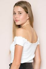 brandy melville White cropped ribbed off -shoulder Ruffle Trimmed Anya top