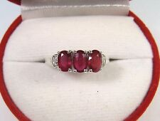 2.04 CTW RUBY & WHITE SAPPHIRE RING size 7 - WHITE GOLD over 925 STERLING SILVER