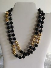Vintage Avon Long Black Gold Glass And Metal Bead Necklace