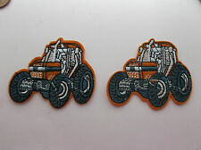 Orange Tractor Iron/Sew on Patches x 2