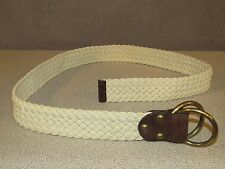 Double O Ring Canvas Stretch Ivory Leather Casual Golf Belt Men's Size 36