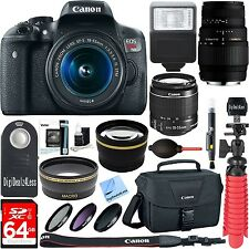 Canon EOS Rebel T6i Digital SLR Camera Wifi+EF-S 18-55mm IS & Sigma 70-300mm+XTR