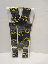 SUSPENDERS  BLACK WITH HAPPY FACE NIRVANA ON THEM  PUNK ROCK EMO GOTHIC