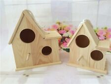 US Ship Small size Natural Wood Hanging Bird House Hook Wildlife Feeding Garden