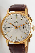 Vintage 1940s ZENITH 18k Yellow Gold Mens 40mm Chronograph Watch RARE