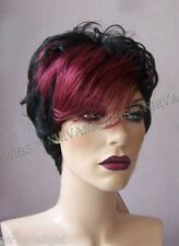 Black with Burgundy Red Front Short Wet Look Choppy DW1030 Goth? Wig